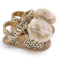 Wholesale sandal kids girl cute resale online - Summer first walker baby Leopard sandals cute fur ball style baby girls boys sandals soft sole kids sandals
