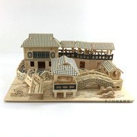 Wholesale build wooden house online - Wooden assembled house three dimensional puzzle D wooden simulation building model handmade wood DIY educational toys