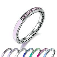 925 ringe blaues herz großhandel-Authentische 925 Sterling Silber Ring für Pandora Europäischen Schmuck Radiant Hearts Air Blue Emaille Sky Blue Synthetische Spinell Frauen Ring