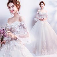organza blumen china großhandel-2018 neue Spitze 3D Blume Schatz Elfenbein Mode Sexy Brautkleider für Bräute China vestidos de noiva Mariage Kleid