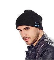 Wholesale hat speakers - Bluetooth Music Beanie Hat Wireless Smart Cap Headset Headphone Speaker Microphone Handsfree Music Hat OPP Bag Package 50PCS HHA29
