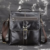 Wholesale tiding leather bag men - Business retro new large capacity men's briefcase handbag hand cleaning computer bag real skin male tide bag