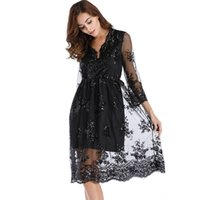 Wholesale sequin cocktail dresses online - New Women Elegant Mesh Sequin Dress Party V Neck Long Sleeve Loose Casual Midi Cocktail Dress Vestido