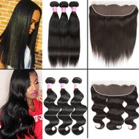 Wholesale black hair pieces - Straight 8A Brazilian Virgin Hair Body Wave Human Hair 3 Bundles with Frontal closure 100% Unprocessed Peruvian Mongolian Hair Extensions