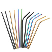 Wholesale 304 Colorful Stainless Steel Drinking Straw cm Straight Bent Reusable Straws Juice Party Bar Accessorie