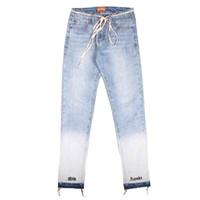 pantalones vaqueros al por mayor-2018 90s Alta calidad nueva japón Moda hiphop justin bieber Miedo de Dios, estilo de niebla Gato, bigotes, llevar, blanco, Letra, bordado, Skinny, jeans