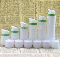 havasız şişe beyaz toptan satış-Boş Boş Havasız Pompa ile beyaz Kap Plastik Şişeler Yeşil Kenar Seyahat Üzerinde Emülsiyon Şişe Losyonu Kozmetik Ambalaj 100 adet / grup
