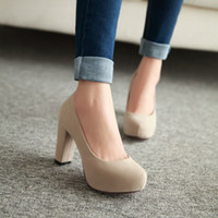 Wholesale korean shoes pumps - Round head spring and autumn season Korean womens shoes high heels and work ol shoes large size shoes