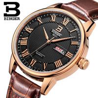 роскошные ультратонкие часы оптовых-Швейцария мужские часы люксовый бренд наручные часы BINGER ультратонкий кварцевые часы кожаный ремешок авто дата водонепроницаемый B3037-3