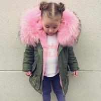 bebés abrigos de invierno sombreros al por mayor-2018 Invierno Niños Abajo Chaqueta INS Super Caliente Big Fur Hat Niños y Niñas Espesar Outwear Coat Ropa de Bebé 45C