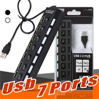 Wholesale computer usb hubs - Hight Quality 7 Ports USB Extension line Splitter Hi-speed USB2.0 480Mbps USB Hub Ports Compatible with USB 1.1 1.0 For Computer PC Package