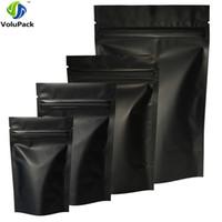 Wholesale foil fabrics - High Quality 100pcs Heat Seal Zip Lock Package Bags Aluminum Foil Mylar Tear Notch Matte Black Stand Up Bag Wholesale