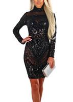 сексуальное платье с длинным рукавом оптовых-Sexy Women Sequin Dress Sheer Mesh Sparkling High Neck Long Sleeve Slim Turtleneck Bodycon Dress female Shiny Glitter Lady