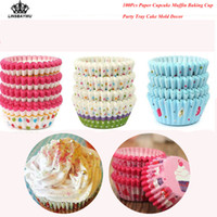 Wholesale muffins paper tray - 100Pcs Grade Round Shape Paper Muffin Cases Cake Cupcake Liner Baking Mold Bakeware Maker Mold Tray Baking Drop Shipping