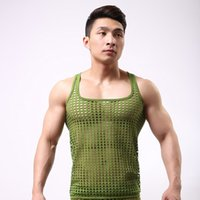 Wholesale Linen Club Clothes - tank tops men sexy Summer big Fishnet See Through Tops Gay Sleeveless Vest funny Singlets hollow out club clothing