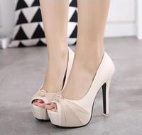 fildişi topuk ayakkabıları toptan satış-Tatlı Şifon Düğüm Rhinestone Platformu Ultra Yüksek Topuklu Sandalet Kadın Fildişi Düğün Ayakkabı Fildişi Pembe Siyah B ...