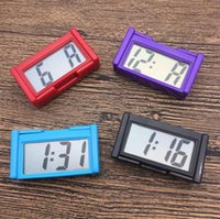 Wholesale dashboard accessories - Car Auto Desk Dashboard LCD Screen Digital Clock Self Adhesive Bracket Plastic Car Clock Car Interior Accessories OOA4914