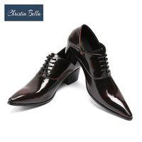 ingrosso oxford scarpe da lavoro-Christia Bella Mens Dress Shoes Tacchi alti Scarpe da sposa in pelle Mens Formal Business Uomo Oxfords for Work Plus Size