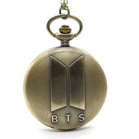 boy bronze 2018 - Fashion BTS Bangtan Boys Music Team Korean Man Singing Group Quartz Pocket Watch Analog Pendant Necklace Mens Womens Kids Gifts