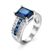 Wholesale sapphire engagement rings resale online - Fashion Blue Sapphire Rectangle Cut Cubic Zirconia White Gold Plated Ring Size Women Men s Engagement Gift