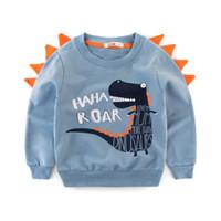 sudaderas infantiles al por mayor-2019 primavera otoño niños sudaderas con capucha ropa Baby Boy algodón sudadera bebé dinosaurio trajes Tops niños abrigo de invierno ropa