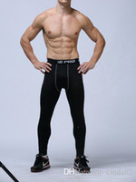 Wholesale Mens Compression Sports Pants - mens compression pants sports running tights basketball gym pants bodybuilding joggers skinny leggings trousers Full Length Free shipping
