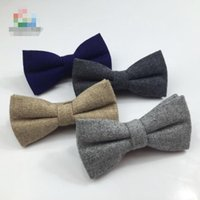 лук связи серый оптовых-Classic Formal Mens Wool Solid Bow Ties Handsome Grey Color Thick Bowtie Casual Business Cravat British Style Butterfly Ties