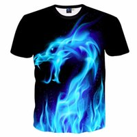 ingrosso fresco stampato le magliette delle donne-Mr.1991inc Cool T Shirt Uomo Donna 3d Tshirt Stampa Blu Fire Snake Manica corta Estate Top Tees T Shirt Fashion