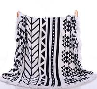 cobertores de ioga algodão venda por atacado-Algodão criativo Toalha de Banho Rodada Toalha de Praia Grande impressão Toalha de banho com borlas 150 cm manta tapete de yoga