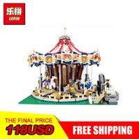 Wholesale toy carousels - 3263PCS Lepin 15013A City Street Ceator Carousel Model Building Kits Blocks Toy amusement park Compatible 10196 Birthday Gifts