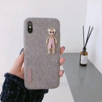 Wholesale phone covers bears - Fabric Phone Case With Cute Bear For Apple Iphone X 8 7 6S 6 Plus Cute Fashion Fabric Back Cover