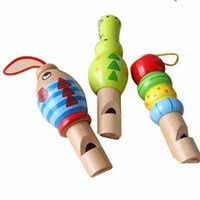 Wholesale wooden toys for kids online - Cartoon Whistle Toys Sound Production Intelligence Toy For Kids Wooden Whistle Mobile Phone Strap Backpack Hot Sale yh W