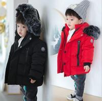 büyük kız kışlık palto toptan satış-2018 Kış Kalınlaşmak Sıcak Çocuk Aşağı Pamuk Mont Parkas Moda Büyük Kürk Şapka Hooed Ceketler Marka Erkek Kız Giyim Sıcak