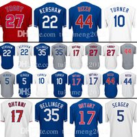 Wholesale Black 22 - 22 Clayton Kershaw 27 Mike Trout 17 Shohei Ohtani Jersey 5 Corey Seager 35 Cody Bellinger 10 Justin Turner 66 Puig 12 Kyle Schwarber Jerseys