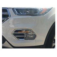 ajuste de la cubierta de la luz delantera al por mayor-Diseño de coches cuerpo frontal luz antiniebla marco de la lámpara pegatina marco ABS cromo cubierta de piezas de repuesto 2 unids para Ford Kuga 2017 2018 2019