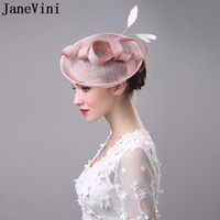 Wholesale vintage bridal hats - JaneVini Vintage White Black Pink Wedding Bridal Hat Flower Outside Holiday Feather Womens Hats And Fascinators With Hairpin