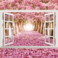 sticker d'autocollant mural achat en gros de-3D océan plage fleur sunflow fausses fenêtres stickers muraux salon décoration bricolage décalcomanies de la mer mer paysage art mural affiches