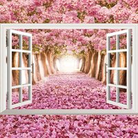 Wholesale wall sticker poster flower for sale - Group buy 3d ocean beach flower sunflow fake windows wall stickers living room decoration diy home decals sea landscape mural art posters