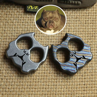DICORIA Bully dog double ring TC4 Titanium punch daggers outdoor Buckle EDC Survival Knuck knuckles Multi tools