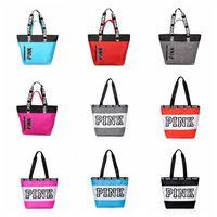 Wholesale duffle style handbags - Pink Letter Handbags 9 Styles Women Shoulder Bags Love Pink Waterproof Shopping Bag Handbag Secret Travel Duffle Bags Beach Bag OOA4342