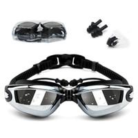 плафон оптовых-Лето высокое качество плавать очки интегрированные плавательные очки водонепроницаемый и анти-туман уха вилка + зажим для носа съемная рамка 9 цветов