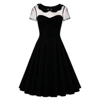 Sisjuly 2018 estate femminile vestito da partito nero solido abiti sexy  scava fuori vintage vestito gotico estate Peter Pan colletto abiti Y1890810 0400b2505e23