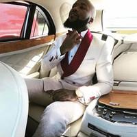 um vestido feito venda por atacado-Vestido de noite Custom Made Branco Borgonha Vermelho Teste Padrão Floral Homens Ternos Smoking Do Casamento Ternos Para Homem Blazer Noivo Jaqueta + Calça
