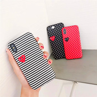 Wholesale iphone red dot for sale - Group buy Designer Striped Dot Love Pattern Phone Case Fashion Cover for IPhone XS MAX XR X XS PLUS PLUS P SP S Black Red White Cases