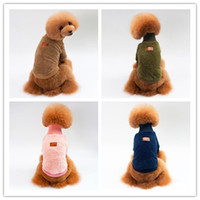 Wholesale fall clothes for sale - New size dog costume Euramerican hot turtlenecks autumn winter warm pet dog clothes dogs apparel solid color sweater for Teddy Bichon
