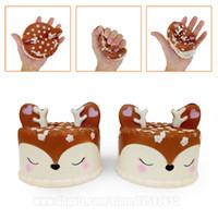 Wholesale deer charm pendant - Deer Cake Squishies Kawaii Slow Rising Squishy Phone Strap Sika Horn Phone Pendant DHL Free Shipping SQU068