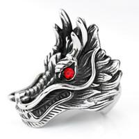 anillo de roca roja al por mayor-2017 nueva venta caliente Dragon Head Anillos Para Hombres Punk Rock Estilo Rojo Anillos de Piedra Joyería Del Partido personalizada exagerada