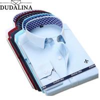 camisas de sarga al por mayor-DUDALINA 2018 Nueva Camisa de Vestir Clásica Camisa Masculina Hombres Primavera Otoño Manga Larga Sólida Sarga Formal Hombres de Negocios Camisas Sociales