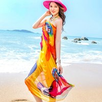 cotton embroidered ladies dresses NZ - Scarves Sexy Women's Summer Chiffon Pareo Butterfly Print Swimsuit Beach Cover Up Plus Size Sarong Dress Ladies Hijab Wrap Scarf