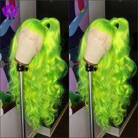ingrosso onda verde-Parte libera naturale dell'onda del corpo lunga Parrucca verde di Apple Parrucca sintetica Glueless ad alta densità del merletto anteriore per il cosplay di trucco del partito delle donne
